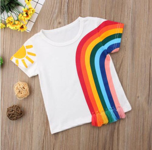 NEW casual Kids Baby Girls clothes Casual Rainbow colourful T Shirt Tassel Patchwork Cotton T-shirt Tops