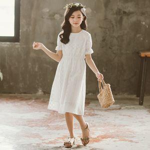 2020 New Girls Summer Dress Teenager Girls Pure Cotton Embroidery Dresses Children Long Style Elegant Dress Soft Clothes, #8831