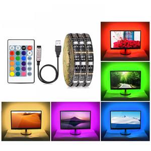 5V USB RGB LED Strip Light 5050 SMD 16 цветов неоновая лампа ТВ подсветка освещения Не-водонепроницаемый 1М 2М 3М 4М 5М DIY гибкая лента