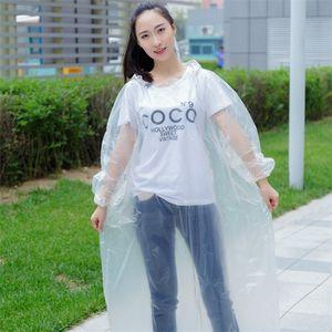 Mode Vêtements à usage unique capot Preuve de pluie PE eau transparente Thicken d'urgence Raincoat extérieur Rafting Poncho Rainwear d'adultes 1 9fs E19