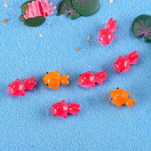 10pcs Mini Goldfish modello in resina Miniature Fairy Garden Miniature Animali Acessories fai da te terrario paesaggio della decorazione artificiale