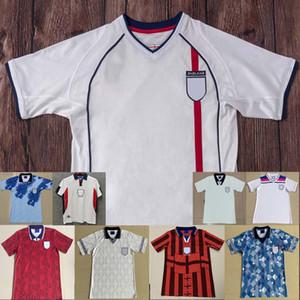 Inglaterra Retro Copa do Mundo Jersey 1982 1994 1998 2002 camisas de futebol SHEARER Beckham 1990 1989 camisa de futebol Gerrard Scholes Owen 1994 Heskey