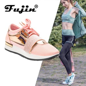 Fujin donne scarpe da tennis nuovo 2020 scarpe della piattaforma del cuoio Spring Fashion di elaborazione delle signore formatori Chaussure Femme pattini casuali delle donne T200111