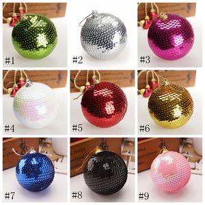 Decoração do Natal Ornamento 8cm lantejoulas douradas decorativas Bolas de Natal Escala Ornamento 13 cores EEA787