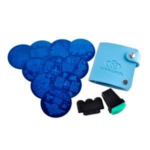 Kits Nail Art Imagen Estampillas Placas Manicura Plantilla 10pcs Diferente + Estampador Raspador Bolsa de almacenamiento Estampado Sello de uñas