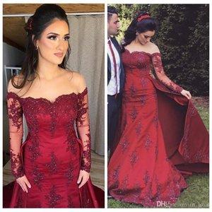 Más los vestidos del tamaño rojo oscuro de la sirena moldeada Vestidos de baile de encaje desmontable de la falda larga de las mangas apliques de manga larga vestido de noche formal del partido
