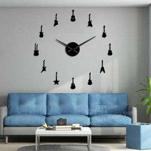 Guitarra Variety Música DIY gigante Wall Clock Music Room Decor Frameless Big Needles Large Wall Clock Rock n Roll guitarra Assista