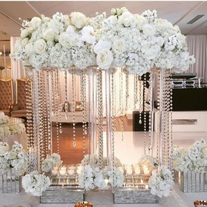 60cm / 120cm boyunda) kristal Çiçekler Vazo Düğün Masa Centrepiece Olay Yolu Altın Metal Vazolar Çiçek Sahipleri Parti Dekorasyon senyu0347 Kurşun