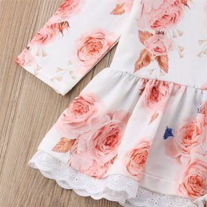 0-24M Cute Newborn Baby Girl Floral Clothes Long Sleeve Lace Mini Dress Tops+Ruffles Long Pant Legging 2PCS Outfit Clothing Set