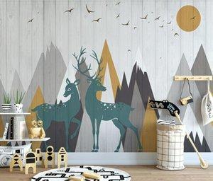 ELK Deer Mountain Carton Wallpaper 3D Wall Mural for Kids Bedroom Contact Paper Wall Papers Roll Art Murals Papel De Parede