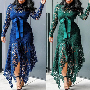 L016 African Christmas sister Pretty party Royal blue wear wedding gown party evening American Lady Slim Fish Tail Sexy Mermaid Lace Bodycon
