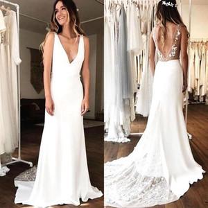 Basit bir çizgi Gelinlik Ucuz V Boyun Backless Tül Saten Dantel Düğün Konuk Elbise Gelinlikler Nedime Elbise BM1513