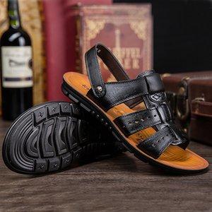 New Men Leather Slippers Male Sandals Outdoor 2020 Verão Handmade Shoes Men Casual Sandálias Caminhada respirável Calçado