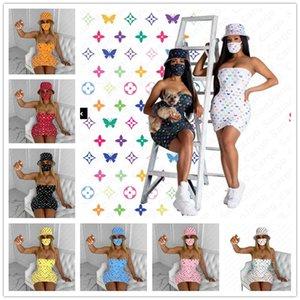 Projeto Verão Mulheres vestido Tendência Strapless saia justa com chapéu de balde e Máscara Set partido na moda Clubwear peça Três Sexy Beachwear E5301