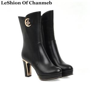 botas de tacón alto sexy plataformas de mujer tacón cuadrado botas de media pantorrilla cálidas de talla grande zapatos negros de invierno para mujer calzado con cremallera