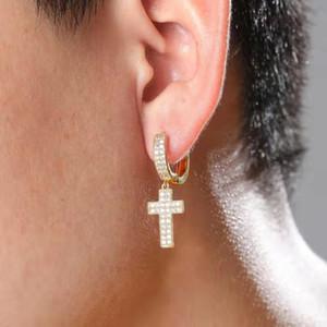 Mini-Hoop Kreuz Ohrringe Männer Frauen Hip-Hop-Luxus-Designer-bling Diamant christian baumelnden Ohrring Liebhaber Reifen huggie gefror heraus Geschenk