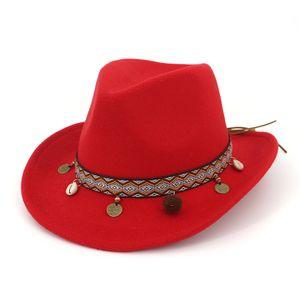 QIUBOSS Richard Petty Stetson en feutre Cowboy occidental avec ruban ethnique Chapeau Fedora australien en laine feutrée au fini lisse