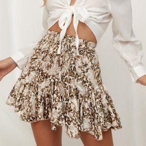 Лето Юбки нового способа Streetwear Над коленом, мини-линии Leopard орденских лент Natural MSFILIA