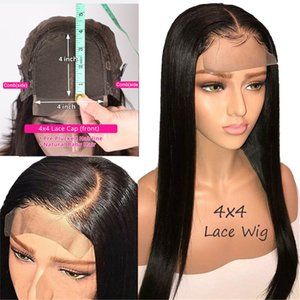 4x4 Lace Closure Wigs Remy Straight Hair Real Human Hair Wigs For Black Women Preplucked Brazilian hair closure wigs