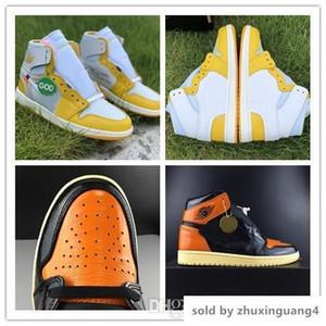 2019 1 OG rotto rimbalzi 3,0 scarpe da basket degli uomini 1 di colore giallo pallido bianco nero vaniglia stelle marine 555088-028 autentiche scarpe sportive