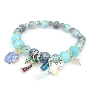 de lujo al por mayor de joyería de diseñador de las mujeres pulseras cuentas de piedras naturales encanto seriales mar Pulsera heló hacia fuera la pulsera NE983-1