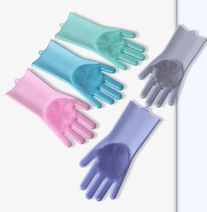 2 teile / paar Beide hände Magie Silikonkautschuk Geschirrwaschhandschuhe Umweltfreundliche Wäscher Reinigung Für Mehrzweckküche Badezimmer 5 Farben