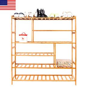 Bastidores del zapato de 6 capas portátil de bambú férula multifunción sostenedores del almacenaje de madera de color ajustable H0003 STOCK Plataforma de EE.UU. envío rápido