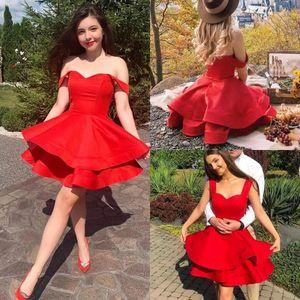 Red Short Homecoming Dresses Off Shoulder Tiered Mini Girls Cocktail Party Dresses for Sweet 16 Special Occasion Dresses vestidos de novia