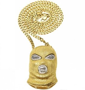 Hip hop Headgear Pendant Necklace Hip hop Fashion Personality Crystal rhinestone hiphop Pendant Jewelry Necklace for Men Women