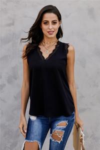 Kadın Yaz Tasarımcı Gevşek Günlük Tişörtlü Moda Dantel Katı Renk Kolsuz V Yaka Dişi Üst