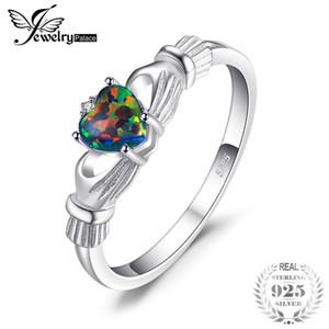 Jewelrypalace Black Fire Opal Multicolor irischen Claddagh Ring massiv 925 Sterling Silber Ringe Liebe Herz Regenbogen Edelstein Schmuck J190528