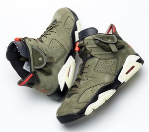 Authentic Travis Scott x 6 6s VI Medium Olive 2020 new CD1084-200 Mens Womens Basketball Shoes Sports Sneaker With 36-46