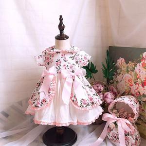 طفلة مصمم اللباس الملابس أسبانيا نمط بوتيك قصيرة الأكمام اللون الوردي القوس تصميم ثوب فتاة ثوب فتاة الملابس