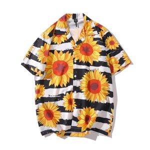 Sun Flower Baskılı Çizgili Gömlek Kısa Kollu Erkek Yaz Tropikal Gömlek Casual Moda Erkek' Gömlek