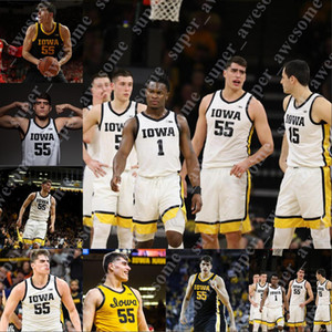 Özel Iowa Basketbol Jersey Luka Garza Joe Wieskamp CJ Fredrick Bohannon Ryan Kriener Joe Toussaint Connor McCaffery Jack Nunge