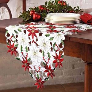 Xmas украшения для дома высокого класса Таблица Runner рождественские стили Вышитые Poinsettia Холли листьев столовое белье украшения Noel