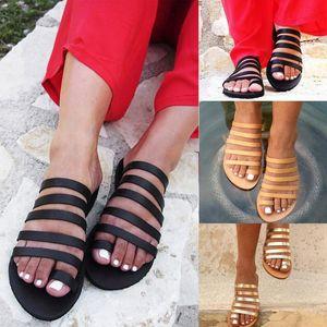 Chinelas femininas Verão Gladiator Sandals Praia Casual Shoes Ladies Plano salto Strap Sandálias Roman sapatos flip Feminino aleta