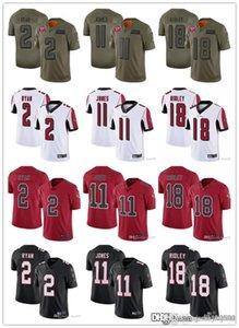 Männer Frauen AtlantaFalconsJugend 18 CalvinRidley 11 Julio Jones 2 Matt Ryan Fußballjerseys Schwarz Rot Weiß Rausch