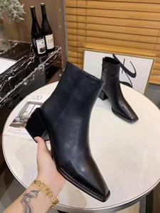Hot Sale-Designer Frauen schwarze Cowboystiefel Fashion Martin Knöchel schwarze Stiefel Kralle Damen Bühnenschuhe flache Ferseschuhe