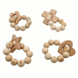 Cute Baby Teether Anelli Food Grade Silicone e faggio anello di dentizione Massaggiagengive braccialetto in silicone giocattoli di masticazione Doccia Regali BPA GRATIS