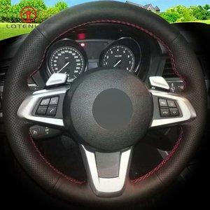 Copertura volante in pelle nera LQTENLEO artificiale fai da te cucito a mano volante dell'automobile per E83 Z4 2009-2014