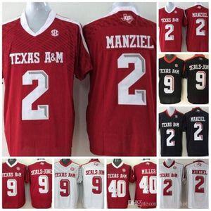 Hommes personnalisés Texas AM Aggies 2019 Football Tous Blanc Rouge Noir Nom Numéro 11 Kellen Mond 82 Dylan Wright 88 Baylor Cupp Manziel Jersey