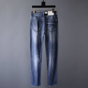 Spring   summer 2020 high quality thin cotton stretch jeans fashion slim men's pants comfortable and breathable size 29-38