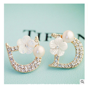 New high quality woman jewelry small letter D designer flowers pearls 925 silver earrings bijoux bijouterie jewelry gift