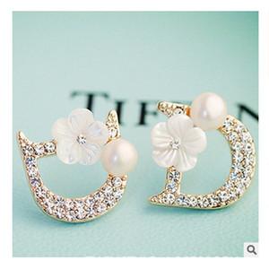 Nouvelles fleurs concepteur petits bijoux de femme de haute qualité lettre D perles 925 boucles d'oreille en argent bijoux cadeau bijoux bijouterie