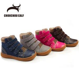 Genuine crianças Primavera Outono Meninas Meninos Couro Botas Calçados Size25-30 S200107
