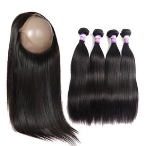 kapanışları ile Brezilyalı bakire saç demetleri Brezilyalı insan saç 3 Paketler 360 Dantel Kapatma Hum ile 360 Dantel Frontal Kapatma 3 Paketler