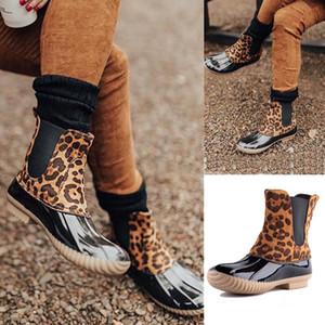 Mulheres Leopardo Slip Botas de Pato Botas de Inverno Senhoras Sapatos Ankle Botas PVC Adultos Deslizantes Impermeáveis Água Respirável Chuva Botas Dom1484