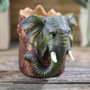 Yaratıcı Fil kalem konteyner kalem tutucu Ev Dekorasyon 3D karikatür hayvan reçine el sanatları Çocuk Hediye