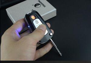 라이터 방풍 코일 창조적 유틸리티 mutifunction 전기 자동차 키 담배 라이터 USB 충전 시가 손전등 흰색 hBMW 주도